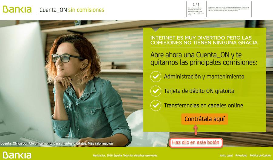 Abrir una cuenta en Bankia paso 1 y 2