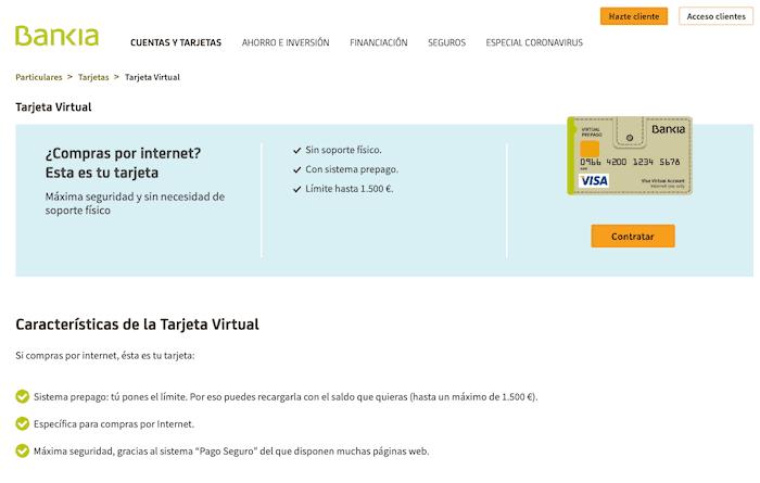 Opiniones de la tarjeta virtual de Bankia