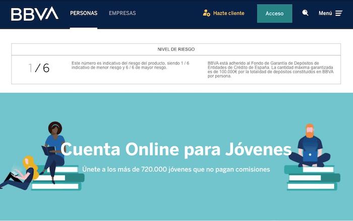 Cuenta BBVA online para jóvenes