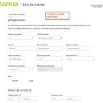 Formulario de registro con Bankia paso 1