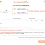 Abrir una cuenta nómina ING: información personal
