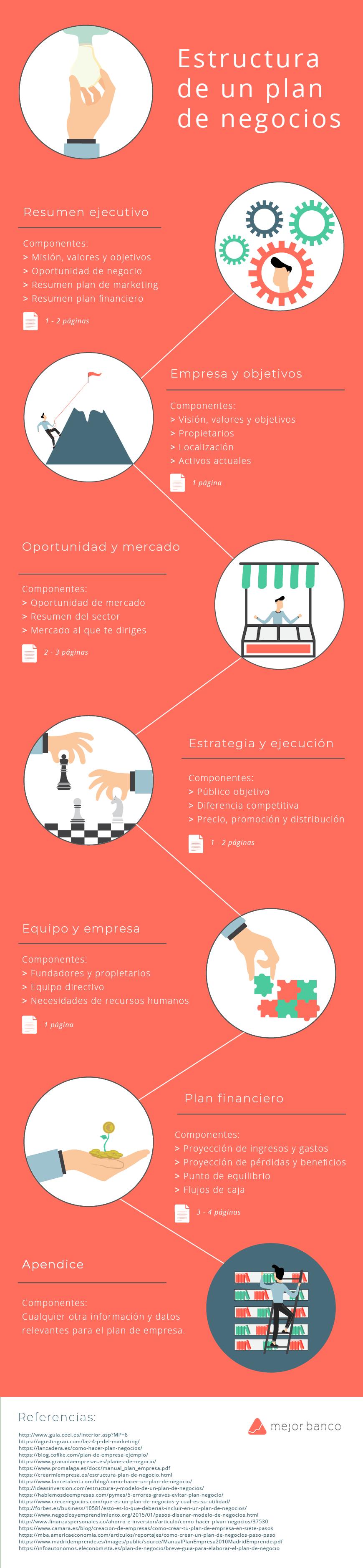 Estructura del plan de negocios infographics