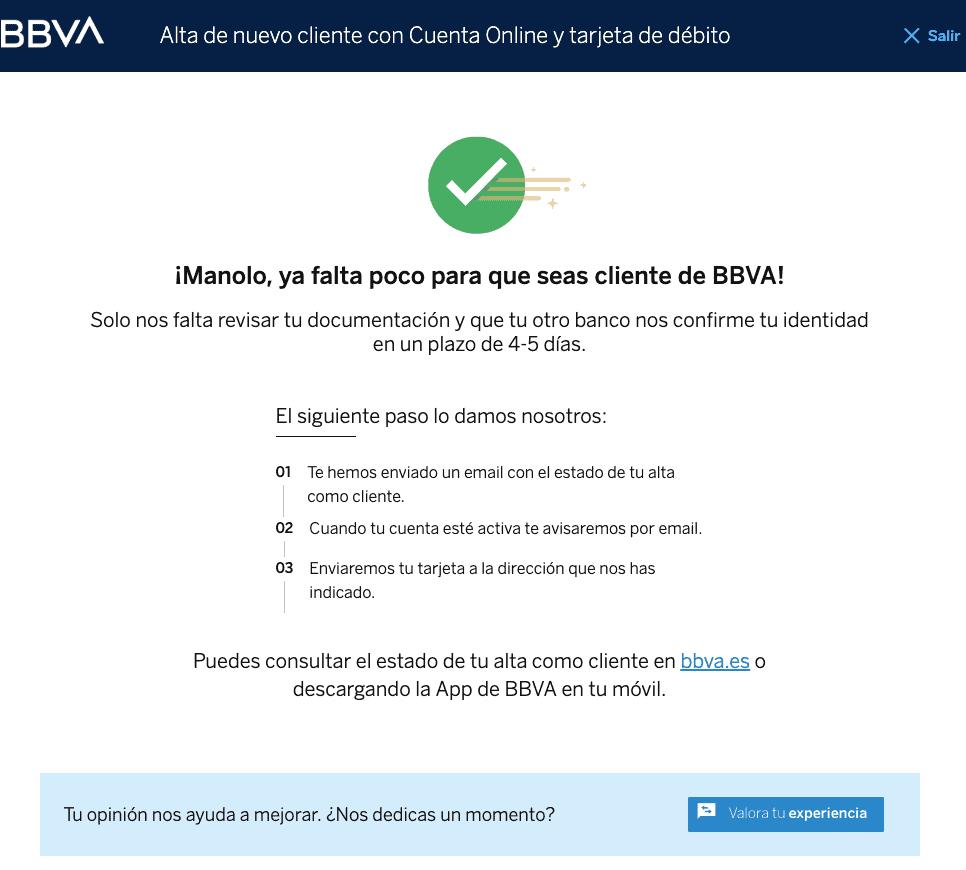 Confirmación de la apertura de tu cuenta BBVA online