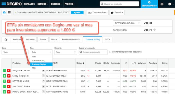 ETFs gratuitos con Degiro para inversiones de 1.000€ o más
