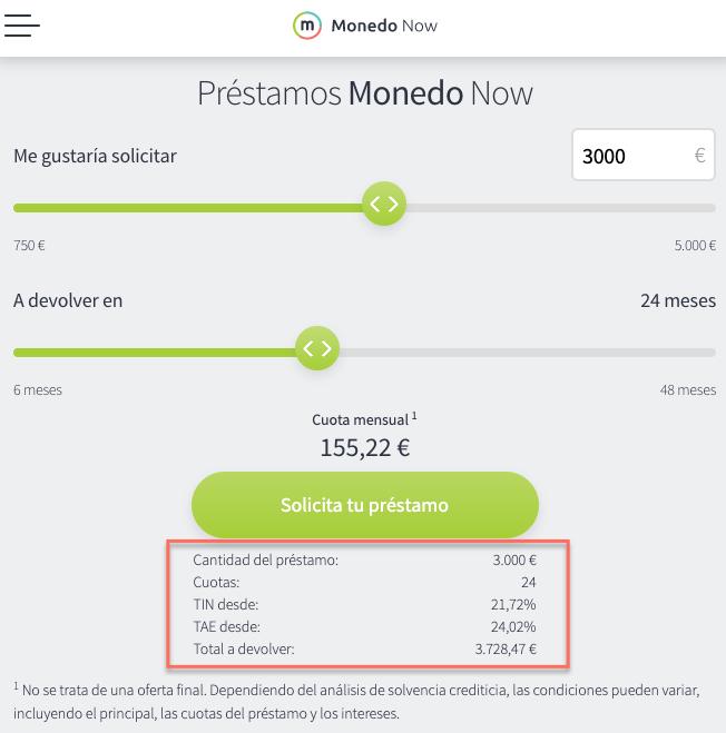 Simulación de interés con Monedo Now