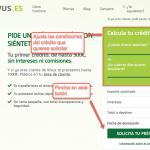 Solicitar un préstamo con Vivus paso 2