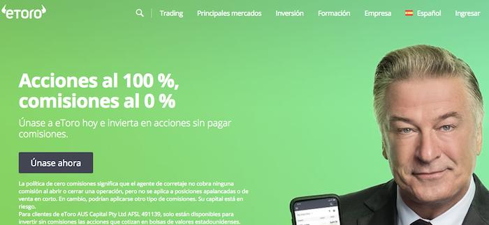 Plataforma de inversión de eToro