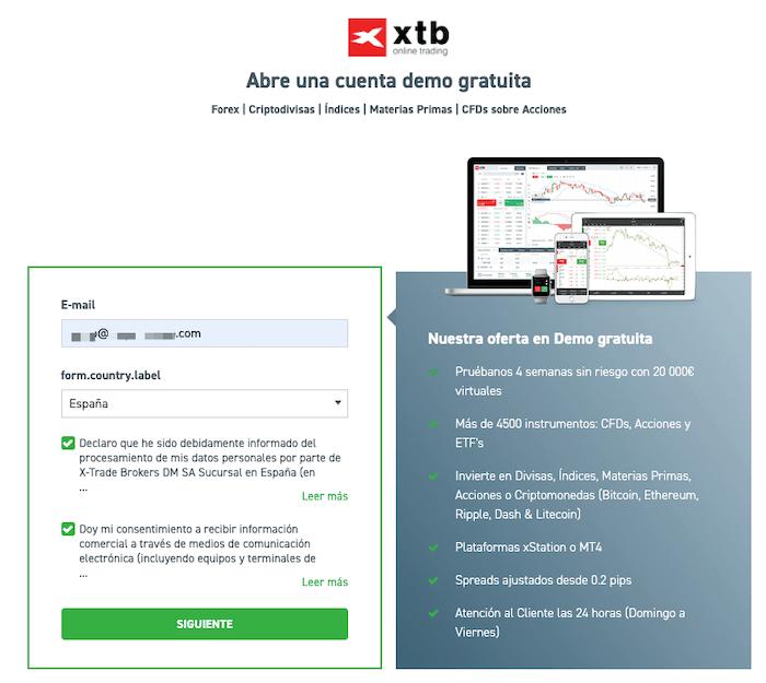 Abrir una cuenta demo con XTB