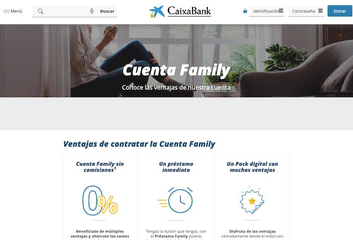 Cuenta Family CaixaBank sin comisiones