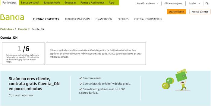 Cuenta gratuita de Bankia