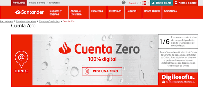 Cuenta Zero comisiones del Santander