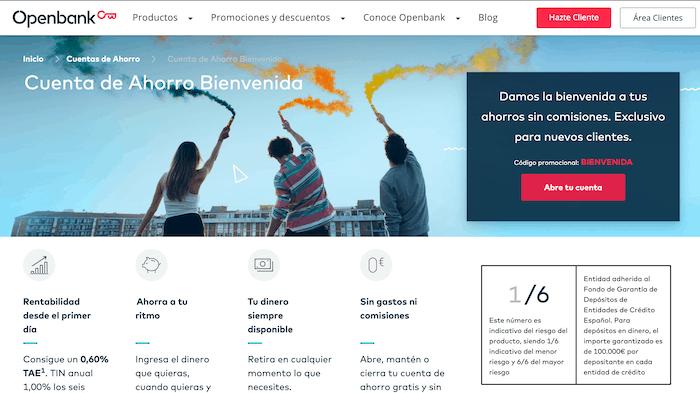 Cuenta de Ahorro Bienvenida de Openbank