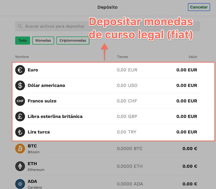 Métodos para depositar fondos en Bitpanda